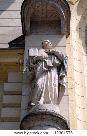 LJUBLJANA, SLOVENIA - JUNE 30: Saint Ignatius of Loyola on the portal of Saint James church in Ljubljana, Slovenia on June 30, 2015