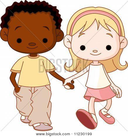 Boy And Girl Walking