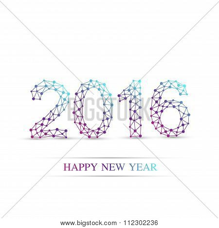 Text design Happy new year 2016. Molecule and communication vector . Connected lines with dots