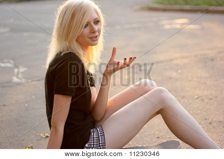 Young Caucasian Teen With Skate