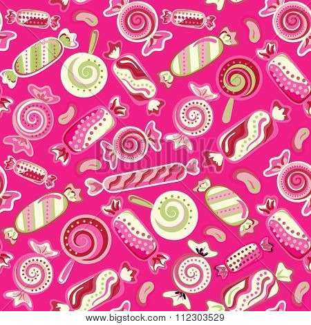 Yummy colorful sweet lollipop candy cane seamless pattern. Vector illustration. Holiday's background