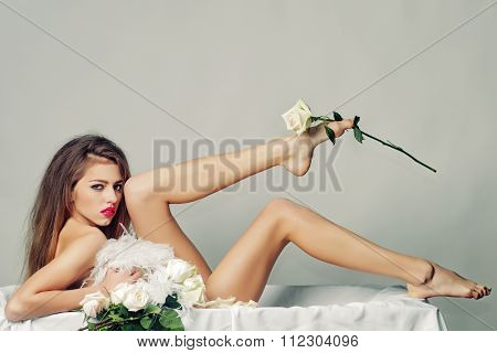 Sexual Woman With Flowers