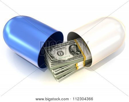 Opened blue pill capsule with dollars stack inside