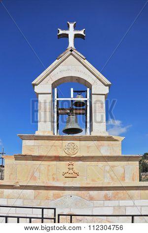 Christian bell tower on the Mount of Olives. East Jerusalem, Israel
