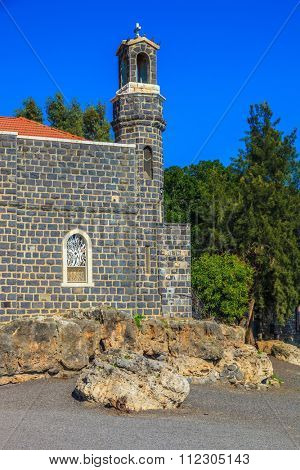 The Holy Church was built on the Sea of Galilee. The Church of the Primacy - Tabgha. Jesus then fed with bread and fish hungry people
