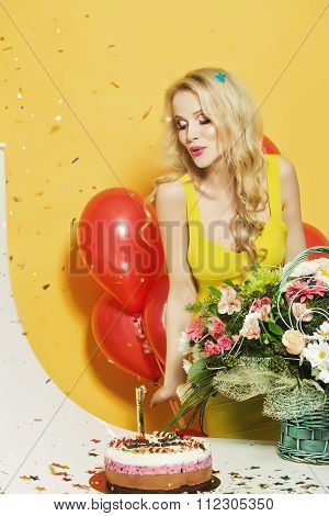 Birthday Woman With Flowers