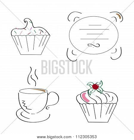 Linear art coffe and cupcakes. Vector illustration.