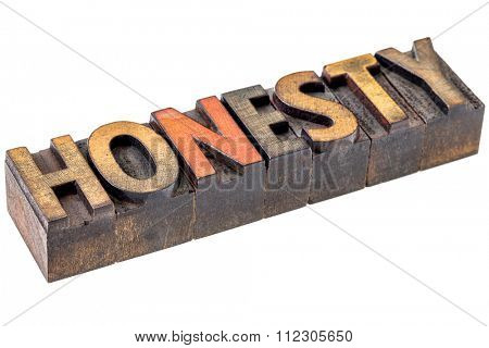 honesty welcome word abstract - an isolated banner in vintage letterpress wood type blocks stained by color inks