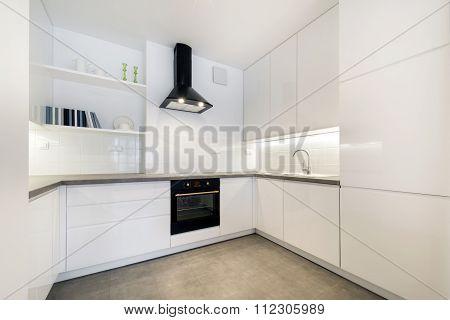 Stylish White Kitchen In Small Apartment