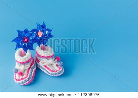 Handmade Knitted Booties With Toy