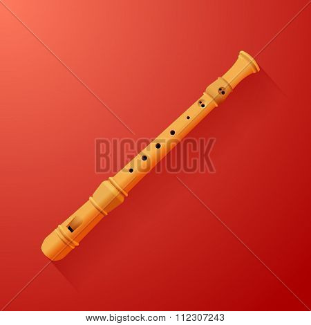 Musical background series. Classical flute, isolated on red background. Vector illustration