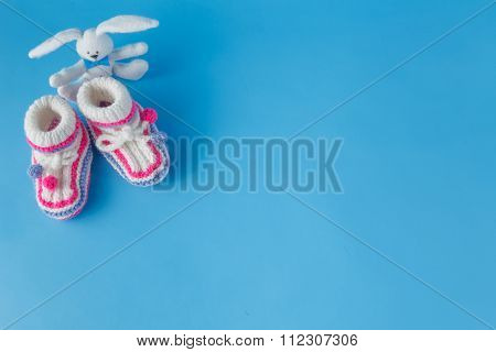 Handmade Knitted Booties With Toy Rabbit