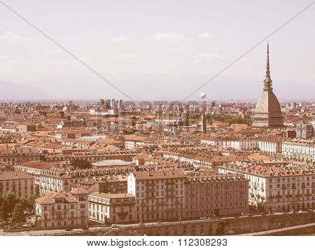 Retro Looking Aerial View Of Turin