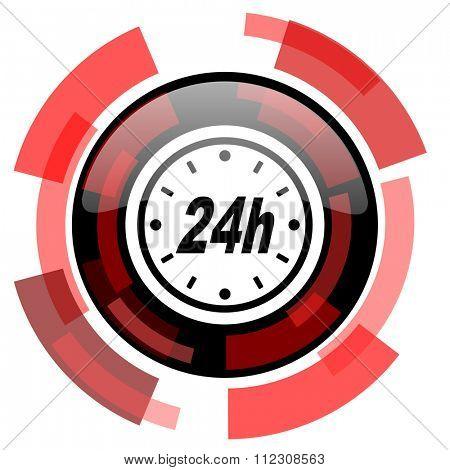 24h red modern web icon