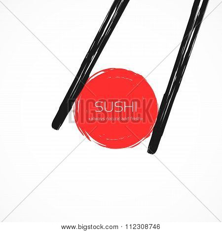 Chopsticks Holding Japanese Roll Frame.