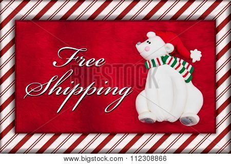 Red Plush Fur And Christmas Bear With Free Shipping Message