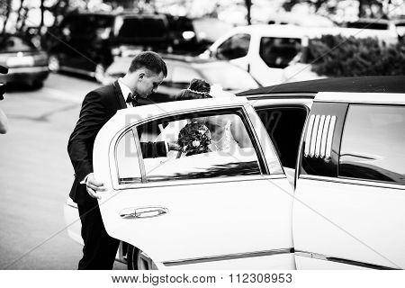 Groom Open Door Of Limousine And Take Hand To Bride