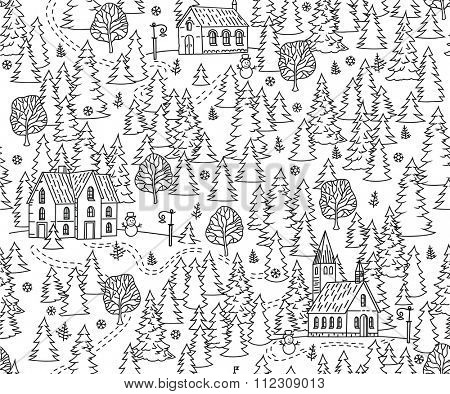 Christmas Forest Seamless Background