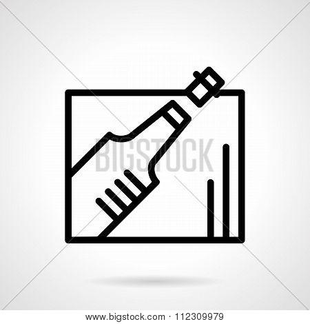 Champagne bottle black line vector icon
