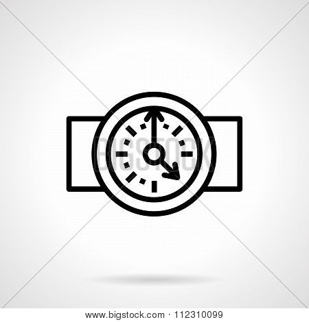 Round clock black simple line vector icon