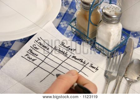 Budget Scribbled On Napkin