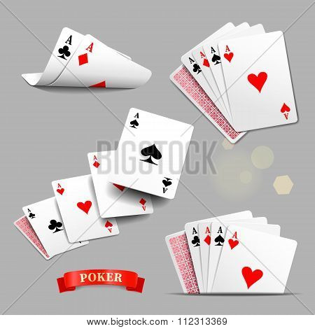 Playing Cards. Four Aces Playing Cards. Vector Set