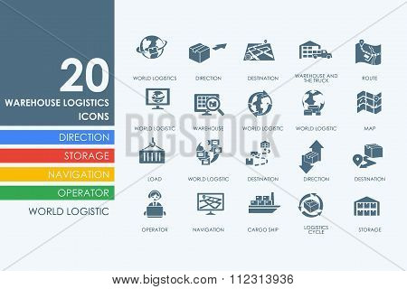 Set of warehouse logistics icons
