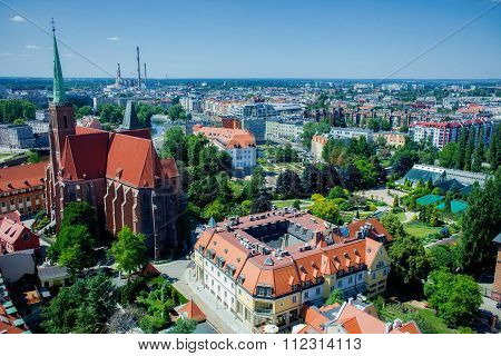 Aerial view of Wroclaw, Poland
