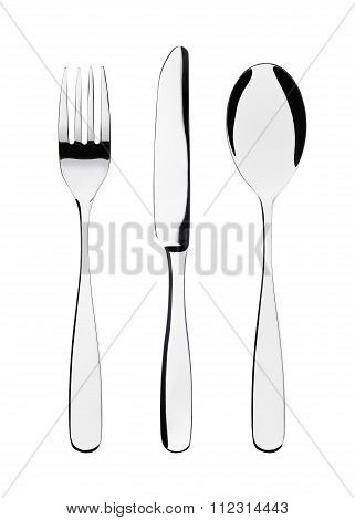 Cutlery set: fork, knife and spoon