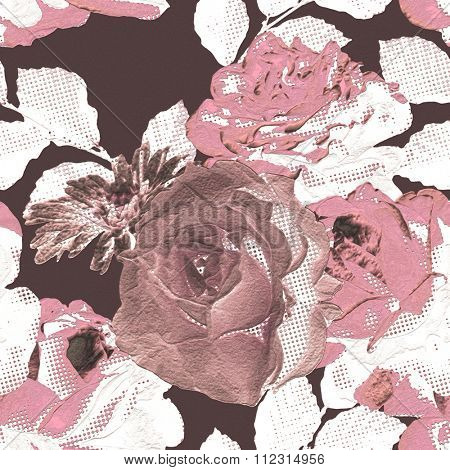 art monochrome vintage floral seamless pattern with pink and white roses on purple background; halftone effect