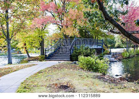Bridge Crossing Lake In Roger Williams Park