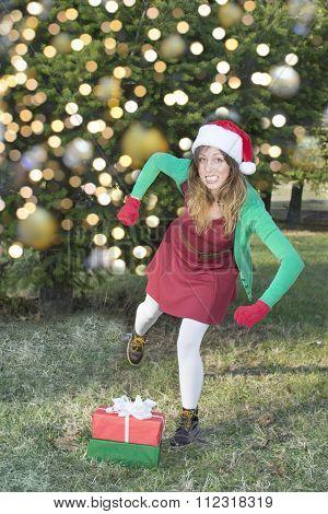 Upset Santa Claus Girl Kicks Christmas Presents