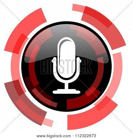microphone red modern web icon