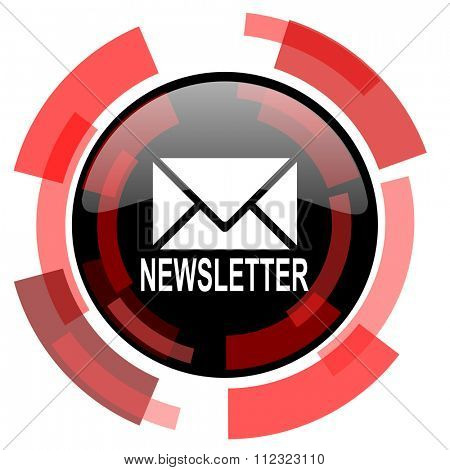 newsletter red modern web icon