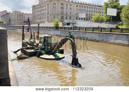 MOSCOW, RUSSIA - MAY 16, 2014: Universal dredge dredging and excavation works in rivers and canals