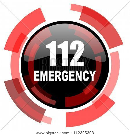 number emergency 112 red modern web icon