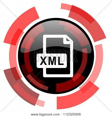 xml file red modern web icon