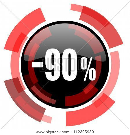 90 percent sale retail red modern web icon