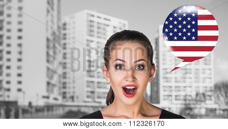 Woman and bubble with country flag