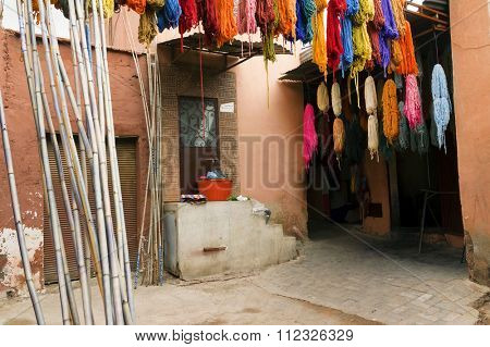 Morocco Essaouira typical colorful tie-dye scarves in the historic Kasbah