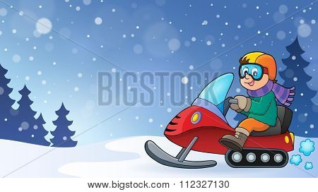 Snowmobile theme image 3 - eps10 vector illustration.