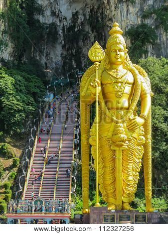 Golden statue of hindu god Lord Murugan