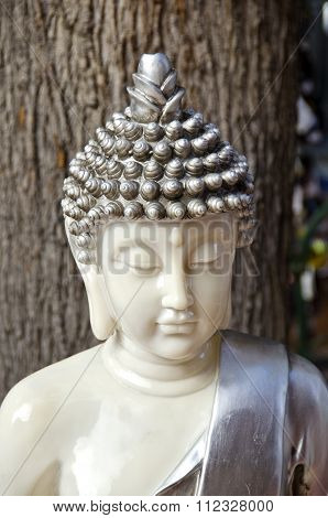 Budha Figurine Made Of Metal And Marble