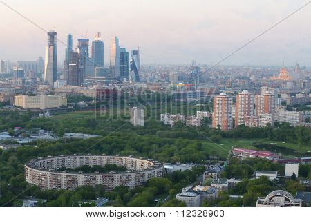 panoramic view of Moscow sity business complex with skyscrapers, river, park and trees