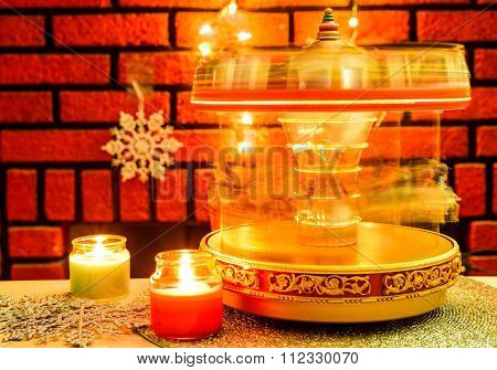Merry Go Round And Candles Christmas Decoration
