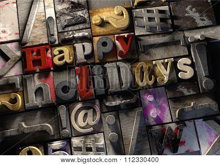 #Happy Holidays! On Retro Wooden Print Blocks Celebrate The Festive Season.