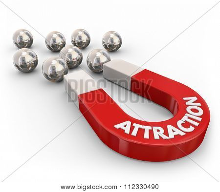 Attraction word on a red metal magnet pulling or drawing ball bearings close together