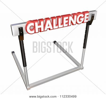Challenge word in red 3d letters on a hurder or barrier obstructing your path and to be overcome to achieve a goal