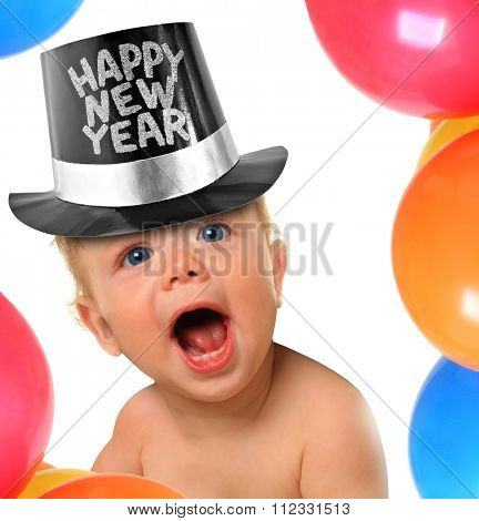 Shouting Happy New Year baby boy.