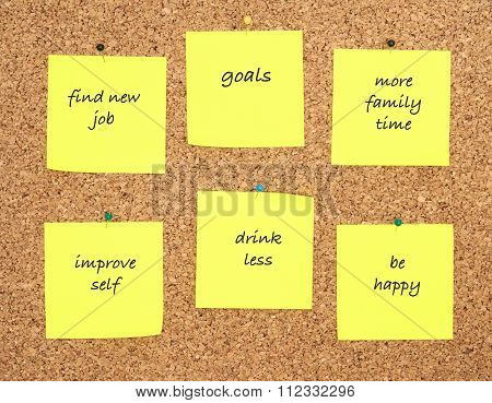 Goals For New Year Written On Yellow Sticker Notes